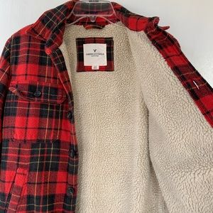 American Eagle Outfitters Jackets & Coats - Sherpa-lined Flannel Jacket